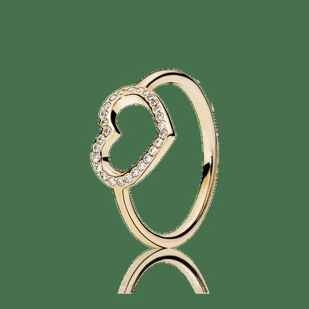 Anel De Ouro Grande Coração - 50