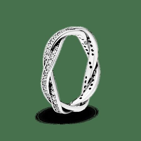 Anel De Prata Brilho Entrelaçado - 52